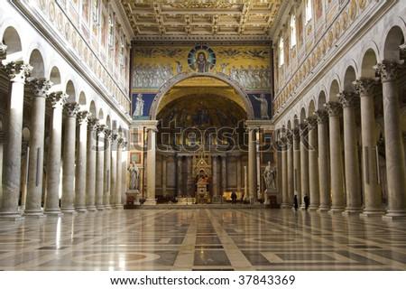 Rome indoor of  san paolo fouri le mura - stock photo