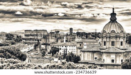 Rome, Italy. Aerial view of the ancient city. - stock photo