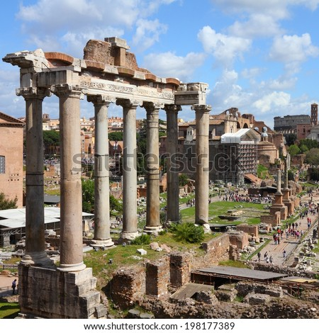 Rome, Italy - ancient Roman Forum, UNESCO World Heritage Site. Square composition.