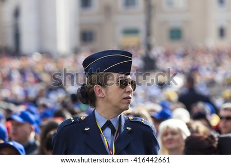 Rome, Italy - April 30, 2016: Air Force Official Woman, belonging to departments FAC (Forward Air Controller) in St. Peter's Square, during the day dedicated to the jubilee of the Army and the Police.