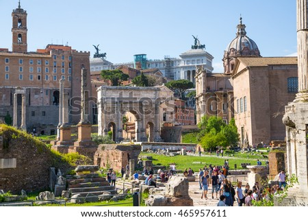 ROME, ITALY - APRIL 8, 2016: Arch of Septimius Severus Roman's forum with ruins of important ancient government buildings started 7th century BC