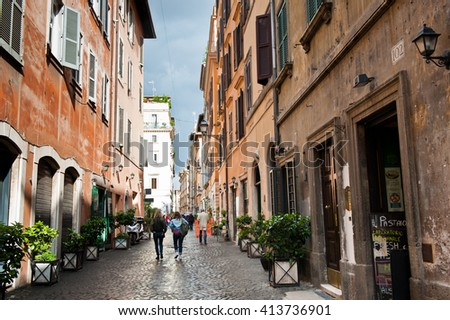 ROME, ITALY - APRIL 26, 2016: Beautiful street in Rome