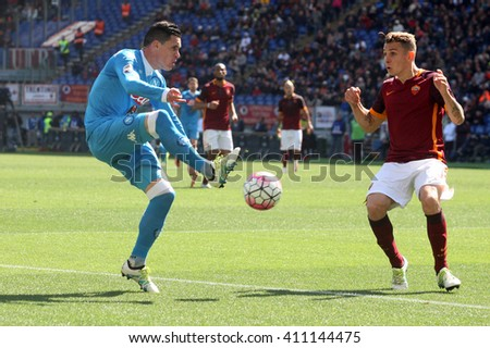 ROME, ITALY - April 2016 : Callajon Digne in action during fotball match  serie A  League 2015/2016 between A.s. Roma  vs Napoli  at the Olimpic Stadium  on april 25, 2016 in Rome. - stock photo