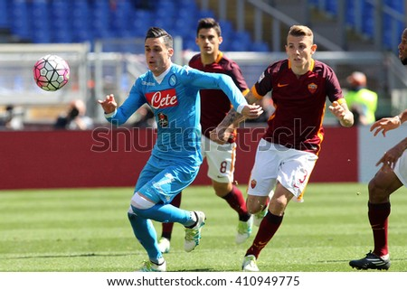 ROME, ITALY - April 2016 :  Callejon Dignein action during fotball match  serie A  League 2015/2016 between A.s. Roma  vs Napoli  at the Olimpic Stadium  on april 25, 2016 in Rome. - stock photo