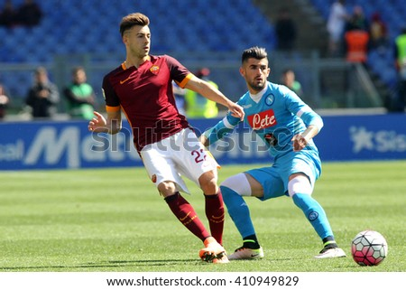 ROME, ITALY - APRIL 2016 : El Shaarawy in action during fotball match  serie A  League 2015/2016 between A.s. Roma  vs Napoli  at the Olimpic Stadium  on April 25, 2016 in Rome.z - stock photo