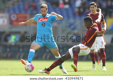 ROME, ITALY - April 2016 : Higuain and Rudiger in action during fotball match  serie A  League 2015/2016 between A.s. Roma  vs Napoli  at the Olimpic Stadium  on april 25, 2016 in Rome. - stock photo