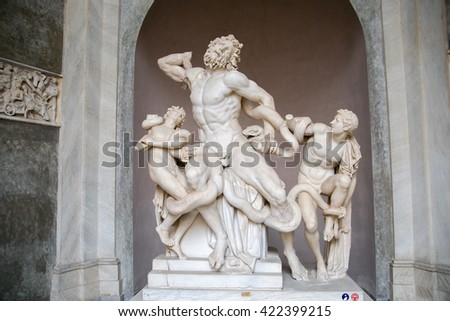 ROME, ITALY - APRIL 8, 2016:  Laocoon and His Sons displayed in the Museo Pio Clementino of the Vatican Museums in Rome, Italy. - stock photo