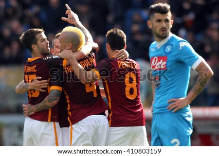 ROME, ITALY - April 2016 :Nainggolan celebrates the gol   during fotball match  serie A  League 2015/2016 between A.s. Roma  vs Napoli  at the Olimpic Stadium  on april 25, 2016 in Rome.