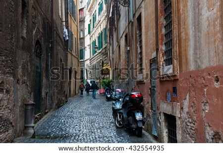 ROME, ITALY - APRIL 26, 2016: Narrow street in Rome