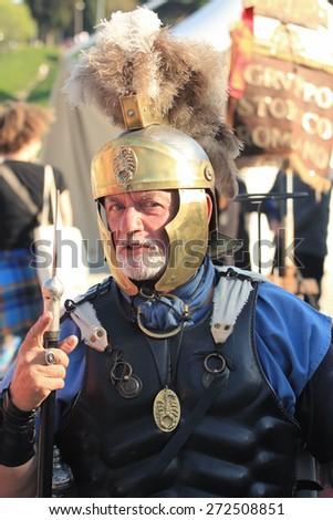 ROME, ITALY - APRIL 21, 2015:  RomeFoundation Anniversary, Centurion portrait - stock photo