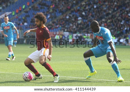 ROME, ITALY - April 2016 : Salah Koulibaly in action during fotball match  serie A  League 2015/2016 between A.s. Roma  vs Napoli  at the Olimpic Stadium  on april 25, 2016 in Rome. - stock photo