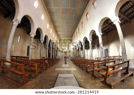 ROME, ITALY - APRIL 21, 2015:  San Giorgio al Velabro ancient romanesque church, the central nave