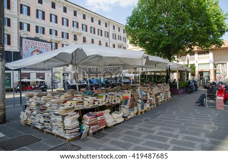 ROME, ITALY - APRIL 25: Small outdoors book shop at Piazza Flaminio in Rome, Italy on April 25, 2016