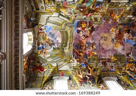 ROME, ITALY - APRIL 20: The Church of St. Ignatius of Loyola at Campus Martius (Chiesa di Sant'Ignazio di Loyola in Campo Marzio) is Roman Catholic titular church, on April 20, 2013 in Rome, Italy.  - stock photo