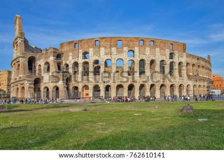 ROME, ITALY - APRIL 15, 2017: The Colosseum could hold, it is estimated, between 50,000 and 80,000 spectators.