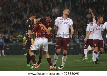 ROME, ITALY - APRIL 2016 : Totti score the gol during fotball match  serie A  League 2015/2016 between A.s. Roma  vs Torino  at the Olimpic Stadium  on April 20, 2016 in Rome.
