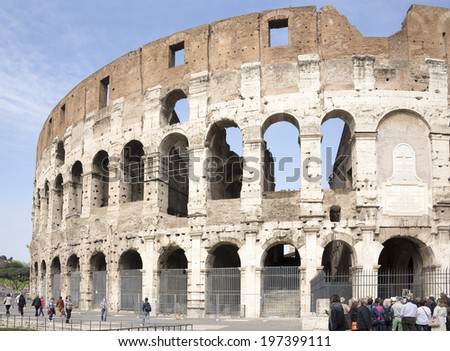 ROME,ITALY-APRIL 02-Tourists visiting the Coliseum (started to build in 72 AD under Vespasian, and in 80 AD amphitheater was consecrated by Titus) in April 02,2014 in Rome
