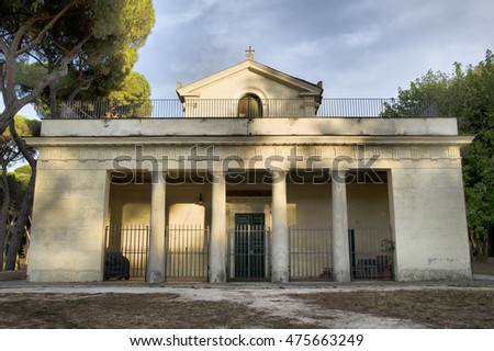 ROME, ITALY - AUGUST 2, 2016: Casina di Raffaello ancient  famous villa constructed at the beginning of the 17th century for Cardinal Scipione Caffarelli Borghese
