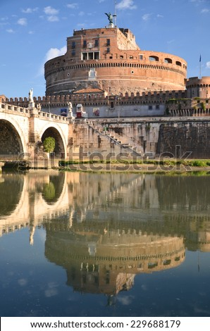 ROME, ITALY - AUGUST 23, 2014: Majestic Castle of Saint Angel over the Tiber river in Rome, Italy. It is also known as Mausoleum of Hadrian that was built in 123 AD - 139 AD