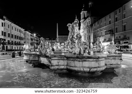 ROME, Italy - 29 August 2015. Night view, Piazza Navona, Rome. Italy - stock photo
