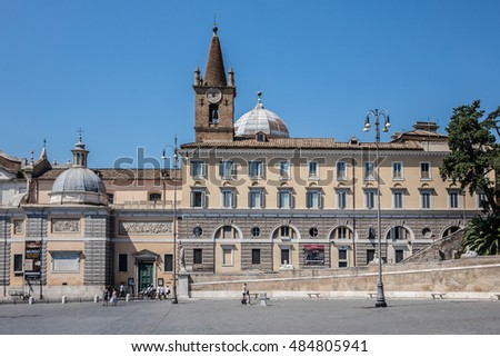 ROME, ITALY - AUGUST 8, 2016: People's Square (Piazza del Popolo) with its fountain and obelisk in centre - is a large urban square in Rome.