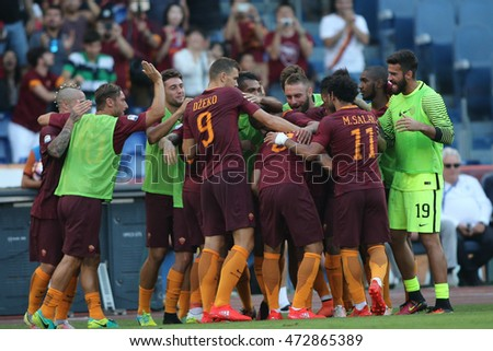 Rome,Italy - August 20, 2016: Perotti scored the gol  during football match serie A League 2016/2017 between As Roma VS Udinese  at the Olimpic Stadium on August 20, 2016 in Rome.
