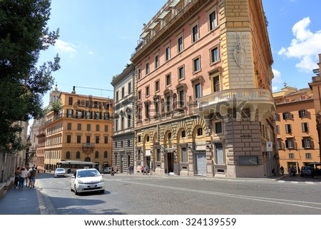 Rome, Italy - August 17, 2015: Traffic by street Via IV Novembre in Rome