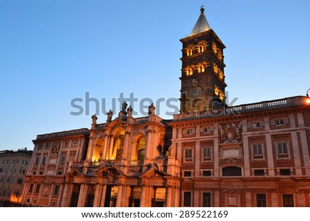 Rome, Italy. Basilica of Santa Maria Maggiore at night