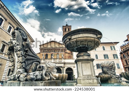 Rome, Italy. Beautiful architectural detail of a famous city square. - stock photo