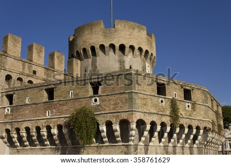 ROME, ITALY - DECEMBER 31 2014: Architectural close up of Castel Sant'Angelo tower close up in Rome, Italy