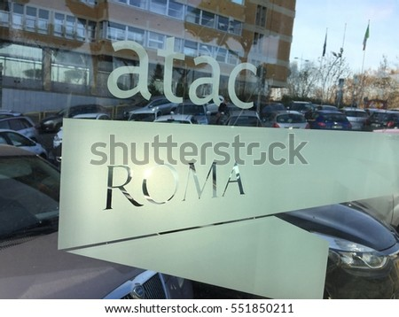 Rome, Italy - December 22, 2016: Atac office entrance. ATAC is the company that runs most of the public transportation network in Rome and its surrounding municipalities