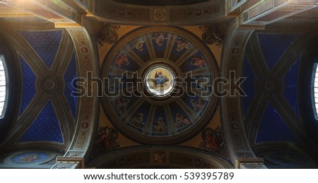 ROME, ITALY - DECEMBER 13, 2016: ceiling paintings and dome inside the Sant'Agostino in Campo Marzio, minor basilica