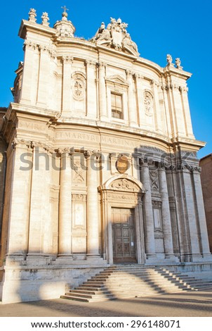 Rome, Italy - December 27, 2011: Church in front of the Forum Romanum