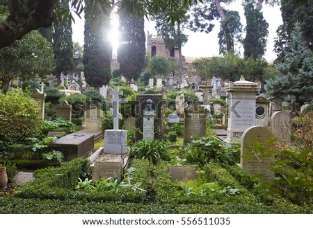 "ROME, ITALY - 11 DECEMBER 2016 - The ""Cimitero Acattolico"", often referred to as the Protestant Cemetery or Englishmen's Cemetery"
