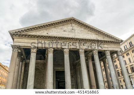 ROME, ITALY, E.U - SEPTEMBER 25, 2015:  the Pantheon