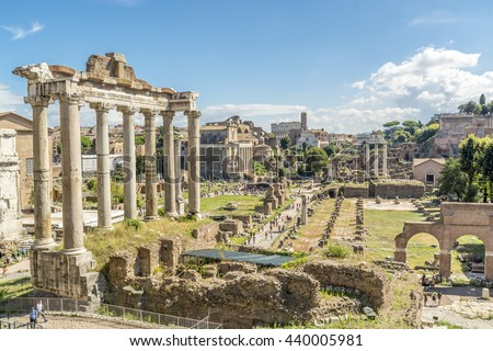ROME, ITALY, E.U. - SEPTEMBER 24, 2015: The Roman Forum