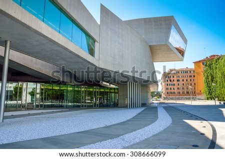 Rome Italy 7/5/2015: External view of the Maxxi National Museum. It is a national museum of contemporary art designed by British architect Zaha Hadid in 2010. Rome Italy - stock photo