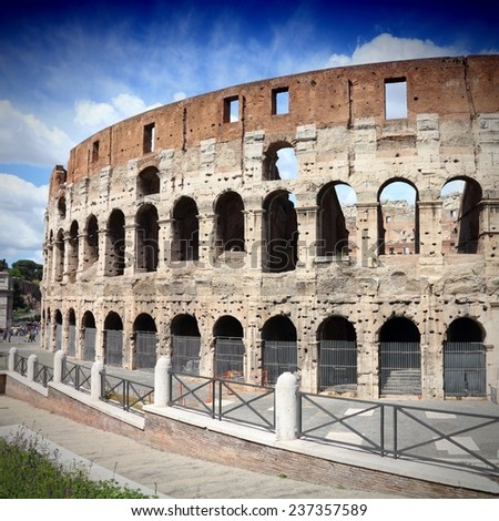 Rome, Italy. Famous Colosseum exterior - ancient Roman landmark. Square composition. - stock photo