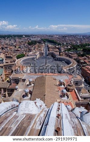 Rome, Italy. Famous Saint Peter's Square in Vatican and aerial view of the city. - stock photo