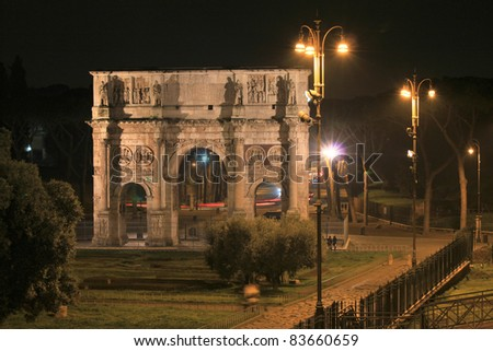 Rome, Italy. Famous triumphal arch - Arch of Constantine. - stock photo