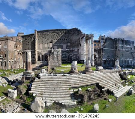 ROME. ITALY. FEBRUARY 20 2016 Ancient Roman ruins in Rome, ROME. ITALY. FEBRUARY 20 2016 - stock photo