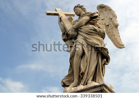 ROME, ITALY - FEBRUARY 27: Bernini's angel along the Holy Angel bridge near the Hadrian Mausoleum in Rome, Italy on February 27, 2010 - stock photo
