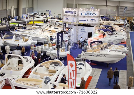 ROME, ITALY - FEBRUARY 19: Big Blue Rome Sea Expo- Boat Show - In this picture a part of the Hall Of Dinghies offering to the visitors a great variety of models and sizes - February 19, 2011 in Rome.