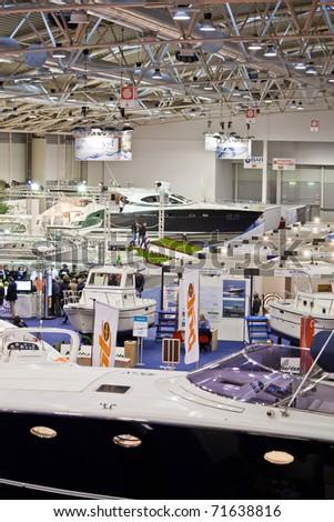 ROME, ITALY - FEBRUARY 19: Big Blue Rome Sea Expo - Boat Show -  In this picture the Hall of yachts over 50 feets - February 19, 2011 in Rome.