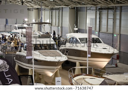 ROME, ITALY - FEBRUARY 19: Big Blue Rome Sea Expo - Boat Show - Two boats from the French producer Jeanneau : the new Prestige Flybridge 400 and the new Sportop 440 S -  February 19, 2011 in Rome.