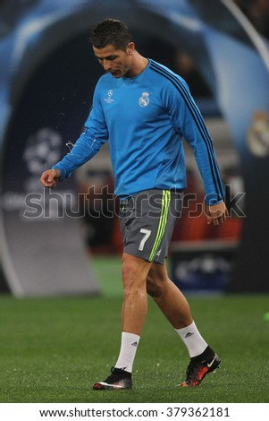 ROME, ITALY FEBRUARY 2016 :Christian Ronaldo trains before the football match  of Uefa Champions League 2016 last-16 between A.s. Roma vs Real Madrid at the Olimpic Stadium on Februry 17, 2016 in Rome.