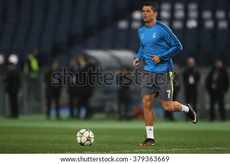 ROME, ITALY FEBRUARY 2016 :Christiano Ronaldo trains before the football match  of Uefa Champions League 2016 last-16 between A.s Roma vs Real Madrid at the Olimpic Stadium on Februry 17, 2016 in Rome. - stock photo