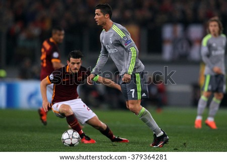 ROME, ITALY FEBRUARY 2016 :Crisitano Ronaldo in action during football match of Uefa Champions League 2016 last-16 between A.s. Roma vs Real Madrid at the Olimpic Stadium on Februry 17, 2016 in Rome. - stock photo