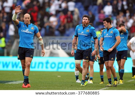 ROME, ITALY - FEBRUARY 2016 : Italians players at the end of the game  rugby match  RBS Six Nations Championships  between ITALY   vs ENGLAND at the Olimpic Stadium  on Februry 14, 2016 in Rome.