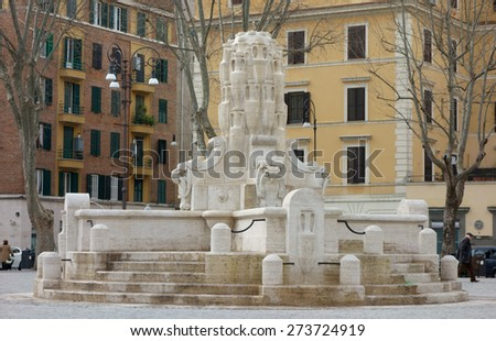 ROME, ITALY - FEBRUARY 21, 2015:  The Fountain of the Amphorae aka Fontana delle Anfore in the Piazza Testaccio square. - stock photo